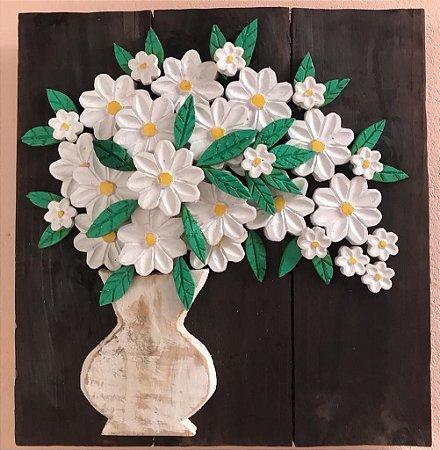Quadro Decorativo Vaso com Flores Artesanal em Madeira
