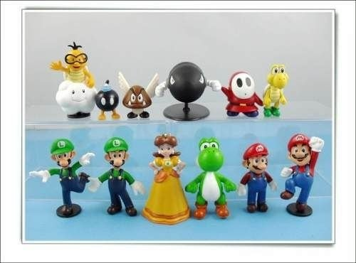 Super Mario Bros Nintendo - Kit C/ 12 Mini Bonecos