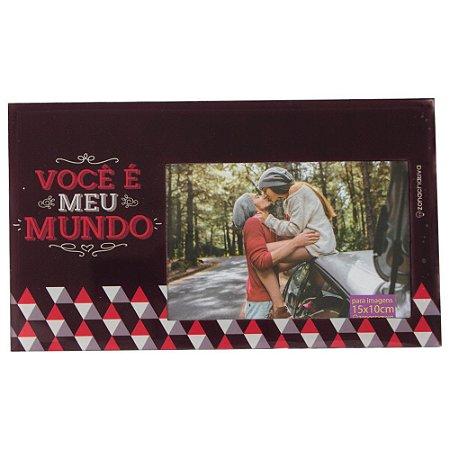 CRIATIVA PORTA RETRATO DE VIDRO VOCÊ É MEU MUNDO 25X14,5 cm