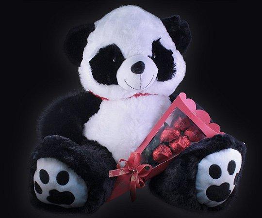 KIT PANDA COM BUQUÊ 50 cm