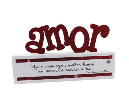 ENFEITE DE MESA MADEIRINHA AMOR 11X18,5