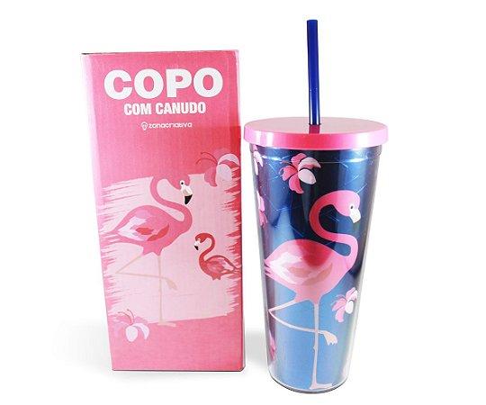 COPO PLASTICO COM CANUDO 700ml - FLAMINGO