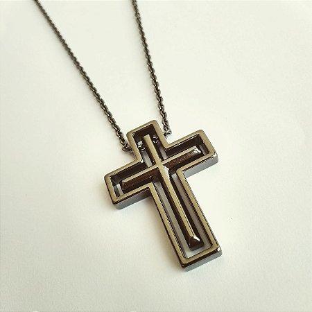 Cordão Crucifixo duplo - Marca 70x7