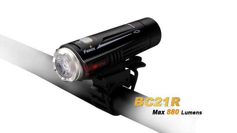 Lanterna Led para Bike Profissional com foco duplo Fenix BC21R 880 lumens recarregável + bateria