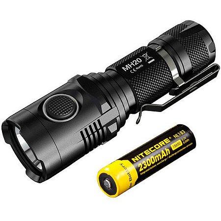 Kit Lanterna Tática Policial NiteCore MH20 Led Cree de 1000 Lumens Recarregável USB + Bateria
