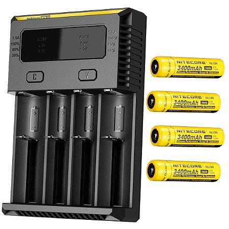 Kit Carregador de Baterias 4 Slots Nitecore New i4 com 4 Super Baterias de Alto Desempenho 3400 mAh