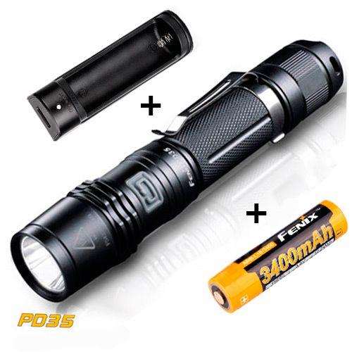 Super Kit Fenix Lanterna PD35 2014 ED Tática Pro Led Cree 960 Lumens Policial  + Carregador e Bateria