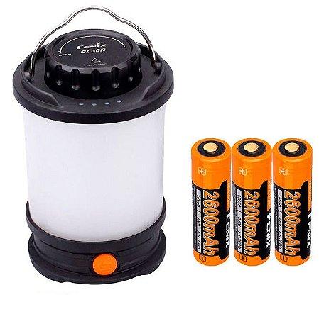 Kit Lanterna Luminária Recarregável Fenix CL30R de Acampamento 650 Lumens Resiste a Chuva impactos e Frio extremo