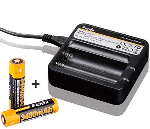 Kit Carregador Fenix ARE-C1 com 2 Slots e 2 Super Baterias de de 3400 mAh + Adaptador recarga no Carro