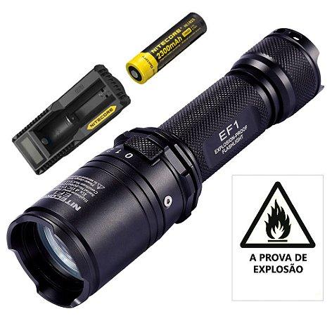 Lanterna Tática NiteCore EF1 Anti Explosão de  830 Lumens com carregador e Bateria Nitecore