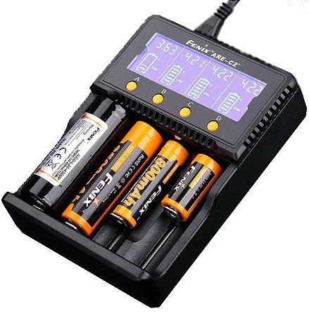 Carregador Inteligente 4 canais independentes 4 Slots Fenix ARE C2+ carrega diferentes Baterias