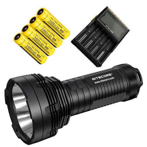 Kit Holofote NiteCore TM16GT 4x Leds Cree 3600 Lumens Forte e Completo com Baterias e Carregador