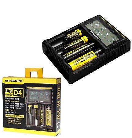 Carregador 4 canais independentes 4 Slots Nitecore Digicharger D4EU diferentes Baterias