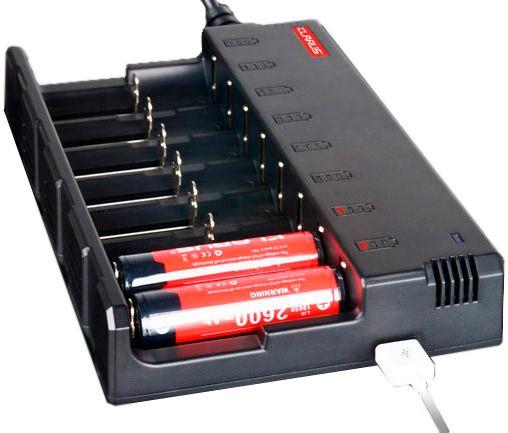 Carregador Inteligente e Universal 8 canais independentes 8 Slots Klarus diferentes Baterias