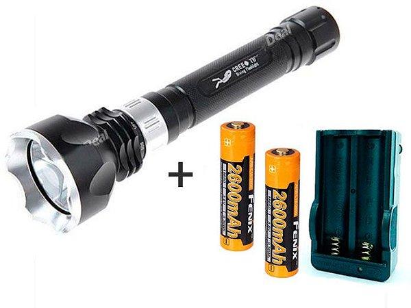 Kit Lanterna para Mergulho Alta Potência Led Cree Q5 de 1200 Lumens + Baterias e Carregador