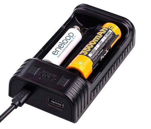 Carregador Inteligente 2 canais independentes 2 Slots Fenix ARE X2 carrega diferentes Baterias