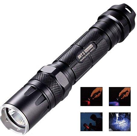 Lanterna Tática NiteCore SRT5 Led Branco 750 Lumens + Leds Azul e Vermelho Super Duração da Bateria