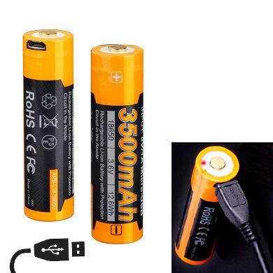 Bateria de alto desempenho 18650 Fenix ARB L18 3500 mAh com circuitos de proteção recarrega USB