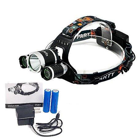 Lanterna Led de Cabeça e Capacete Recarregável Quanta 3 Leds T6 600 Lumens