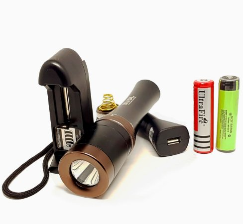 Kit Completo Lanterna Mergulho MDL Led Cree Q5 de 640 Lumens Foco Concentrado 5 Modos Pesca Sub