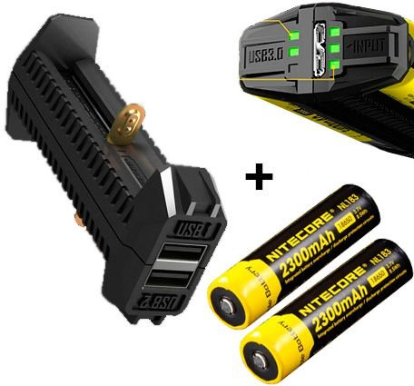 Carregador Portátil Duplo de Baterias Nitecore F2 Função Banco de Energia USB + 2 Baterias