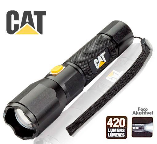 Lanterna Recarregável USB Forte Caterpillar CAT CT2405 Led Cree de 420 Lumens Zoom Foco Ajustável