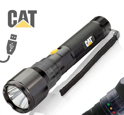 Lanterna Grande Recarregável USB Forte Caterpillar CAT CT1105 Led Cree de 570 Lumens