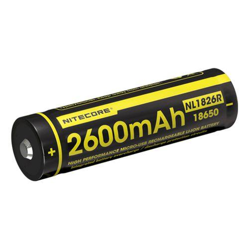 Bateria 18650 de lítio Nitecore NL1826R com micro USB integrado.