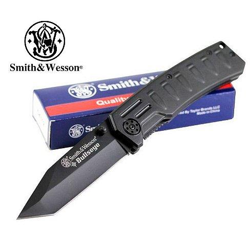 Canivete Tático Policial Smith & Wesson Bullseye CK112 Lâmina Lisa Trava Liner Lock - Forte e Leve