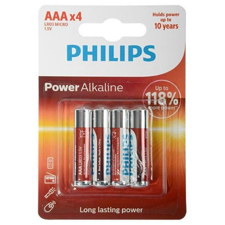 Pilha Alcalina philips 4xAAA 1.5V