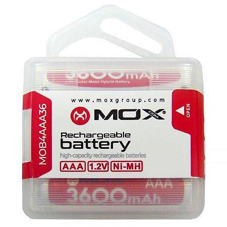 Pilha Recarregável AAA MOX de 3.600 mAh 1.2V - 4 Unidades
