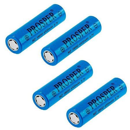4 Baterias Recarregáveis Prosper MZ 18650 Alta Capacidade 4.500 mAh