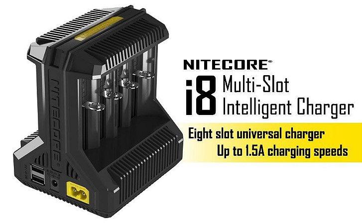 Carregador de Baterias Inteligente Nitecore I8 8 Canais