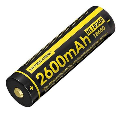 Bateria 18650 Nitecore NL1826R 2600 mAh USB integrado