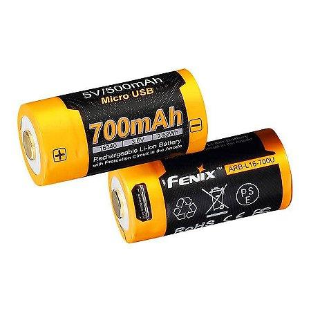 Bateria 16340 - 700U mAh Recarrega no USB