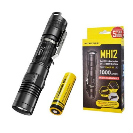 Lanterna Tática NiteCore MH12 Led de 1000 Lm USB c/ Bateria