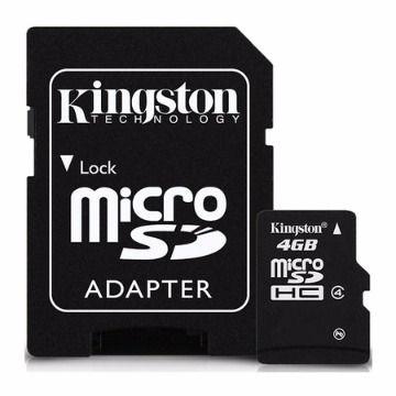 CARTÃO DE MEMORIA KINGSTON SDC4 4GB CLASS 4 - MICROSD C/ADAP. SD