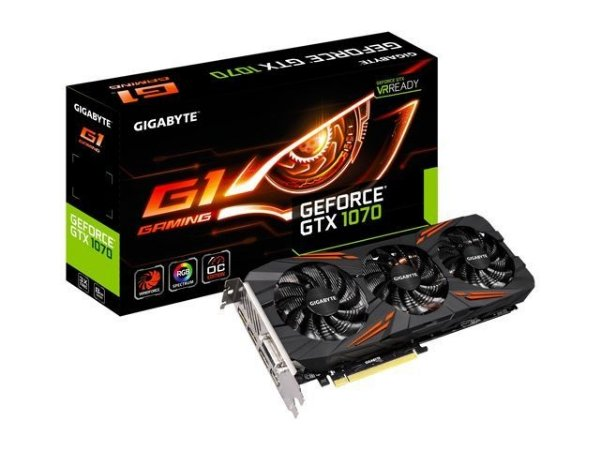 PLACA DE VIDEO GEFORCE GTX 1070 8GB GDDR5 256 BITS G1 GAMING GV-N1070G1 GAMING-8GD - GIGABYTE