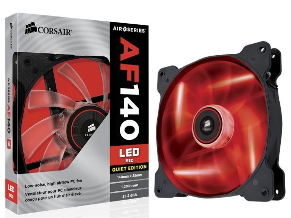 COOLER PARA GABINETE AF140 140MM LED VERMELHO QUIET EDITION CO-9050017-RLED - CORSAIR