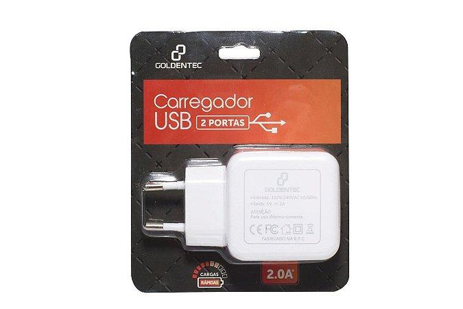 CARREGADOR DE PAREDE COM 2 USB BRANCO - GOLDENTEC