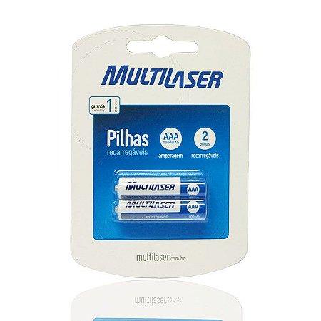 PILHA RECARREGAVEL AAA 1000 MAH CARTELA COM 2 CB051 - MULTILASER