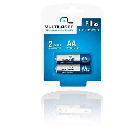 PILHA RECARREGAVEL AA 2500 MAH CARTELA COM 2 CB053 - MULTILASER