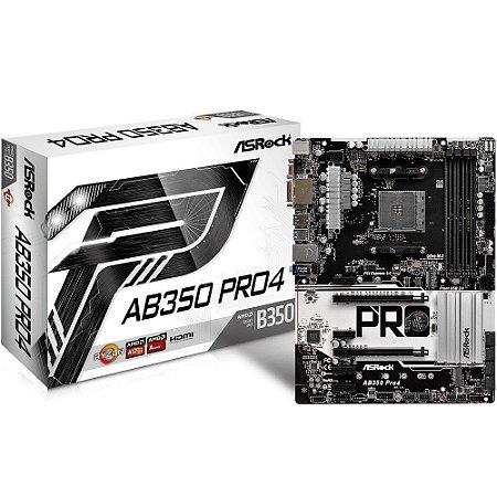 PLACA MAE AM4 AB350 PRO4 PRETA/BRANCA - ASROCK