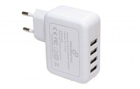 CARREGADOR DE PAREDE COM 4 USB BRANCO - GOLDENTEC