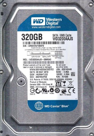 DISCO RIGIDO 320GB SATA II 7200RPM 8MB CACHE WD3200AAJS - WESTERN DIGITAL