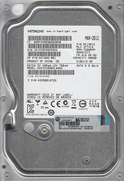DISCO RIGIDO 500GB SATA III 7200RPM 16MB CACHE HDS721050CLA662 - HITACHI