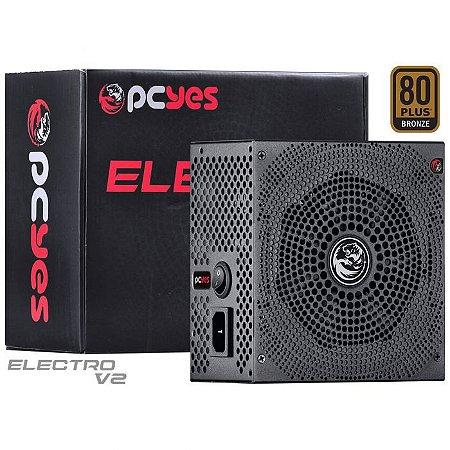 FONTE ATX 600W 80PLUS BRONZE ELECTRO V2 - PCYES