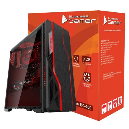 GABINETE GAMER BG-009 PRETO S/COOLERS - BLUECASE