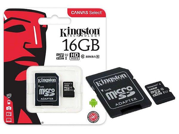 CARTÃO DE MEMORIA 16GB CLASS 10 MICROSD SDCS/32GB 80L/10E - KINGSTON