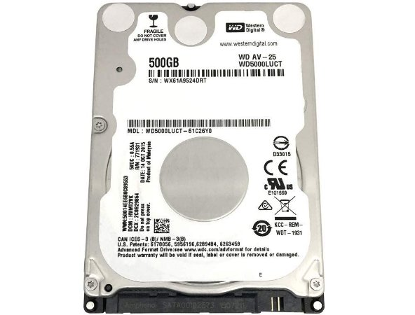 DISCO RIGIDO P/ NOTEBOOK 500GB 24/7 SATA II 16MB CACHE 5400RPM WD5000LUCT - WESTERN DIGITAL